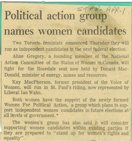 Political Action Group names women candidates -Toronto Star - Apr 1, 1972