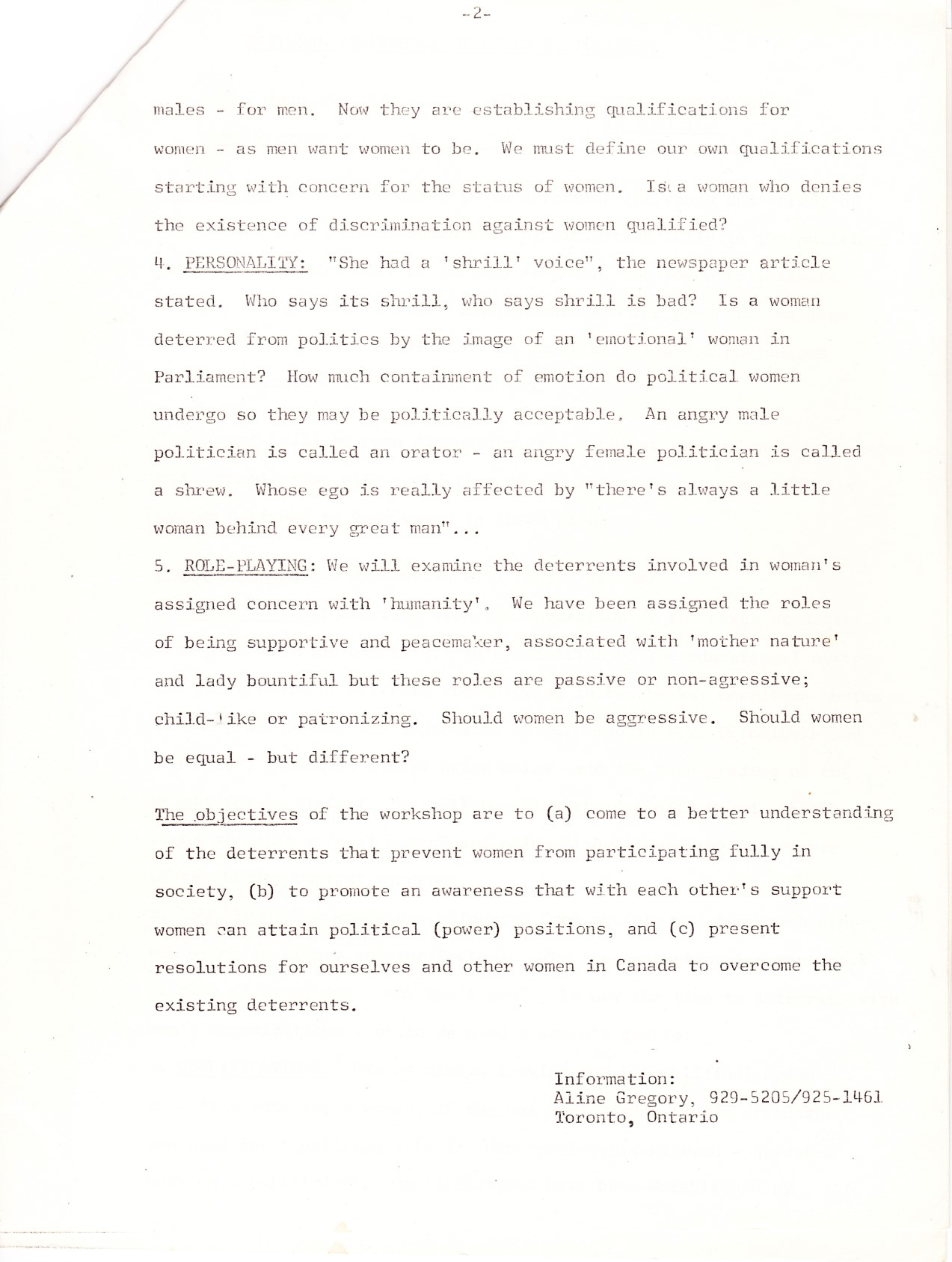 1973 Women In Politics Conference - Workshop Notes: Deterrents to Women in Politics page 2